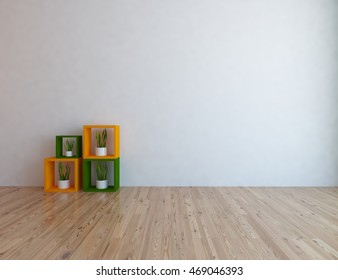white empty interior with cubes and vases. 3d illustration