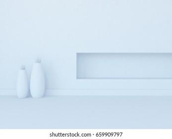 white empty interior with decor. 3d illustration