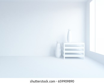 white empty interior with decor. 3d illustration