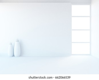 white empty interior with decor . 3d illustration