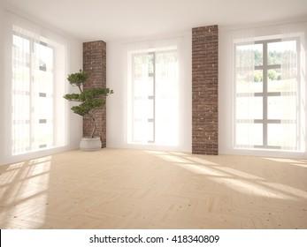 White Empty Interior Design Of Living Room  3D Illustration