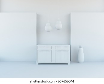 white empty interior with a dresser. 3d illustration