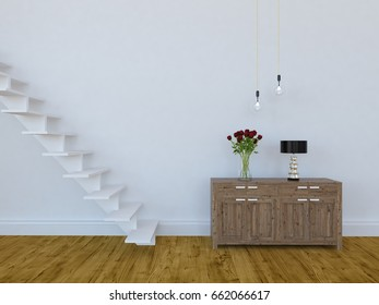 white empty interior with a dresser and stairs . 3d illustration