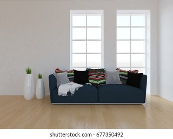 white empty interior with a gray sofa. 3d illustration