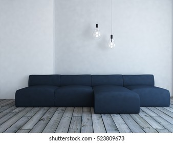 white empty interior with a marengo sofa and lamps. 3d illustration