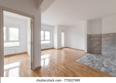 White empty interior of new modern apartment