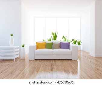 white empty interior with a white sofa. 3d illustration