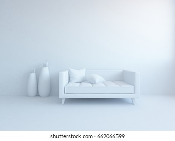 white empty interior with a sofa . 3d illustration