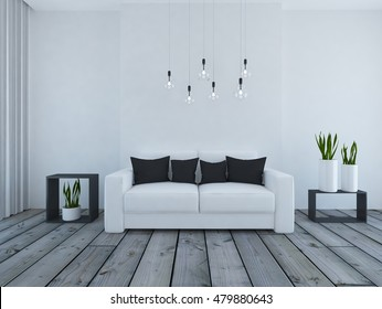 white empty interior with a white sofa and black pillows. 3d illustration