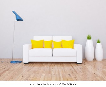 white empty interior with a white sofa and blue lamp. 3d illustration