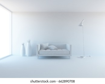 white empty interior with a sofa and decor . 3d illustration