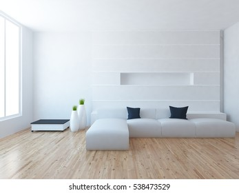 white empty interior with a white sofa, large window and vases. scandinavian interior. 3d illustration