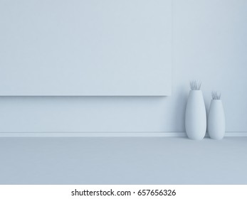 white empty interior with vases. 3d illustration