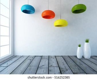 white empty interior with vases and colorful lamps. 3d illustration