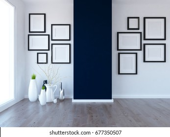 white empty interior with vases and frames on the wall. 3d illustration