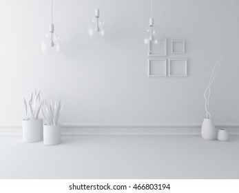 white empty interior with vases and lamps. 3d illustration