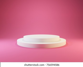 White empty pedestal with lights isolated on pink background. 3D illustration