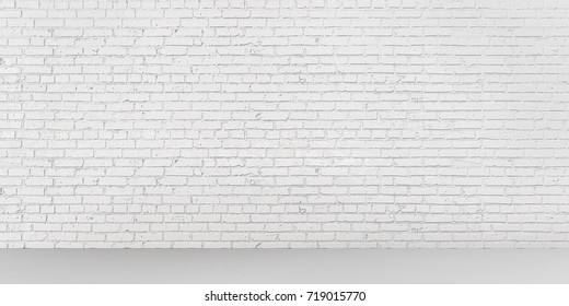 White empty place with wooden floors and brick wall. Mock up template for display or montage of product. Studio or office blank space. 3D render
