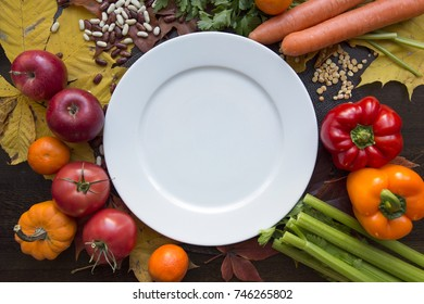 White empty plate and hindu vegan diet food top view
