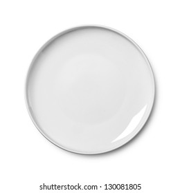White empty plate isolated on white background. Clipping path included