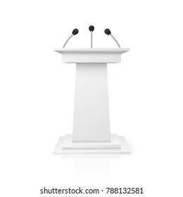 White empty podium tribune for public speech with microphones illustration. Pedestal lecture and public stand