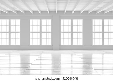 White empty room with big windows and wooden floor. Loft interior mock up. Home or office blank space. 3d render high quality image.
