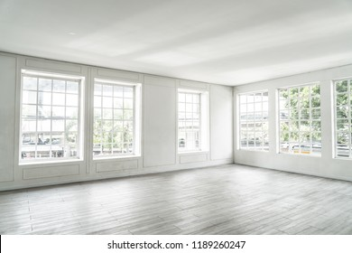 white empty room with glass window