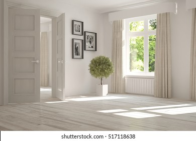 White empty room with green landscape in window. Scandinavian interior design. 3D illustration