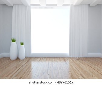White empty room interior with curtains on the window. 3d illustration