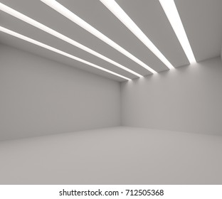 White empty room with lights. 3d rendering. Template for your design