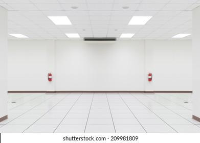 White empty room with OA floor.