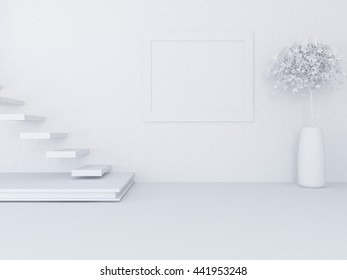 White empty room with stairs. Living room interior. Scandinavian interior. 3d illustration