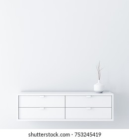 White empty room wall Mockup with console and vase decor, 3d rendering