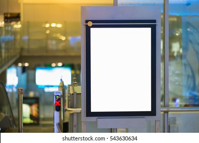 White empty signboard at airport