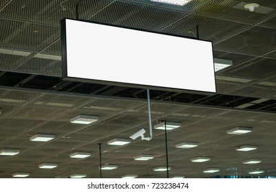 White empty signboard at the airport