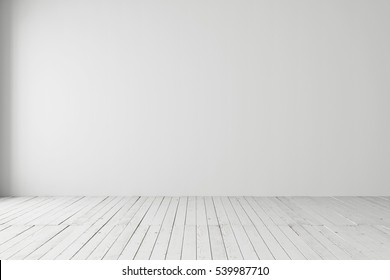 White empty space with parquet floors. Mock-up template for display or montage of product. Studio or office blank space.
