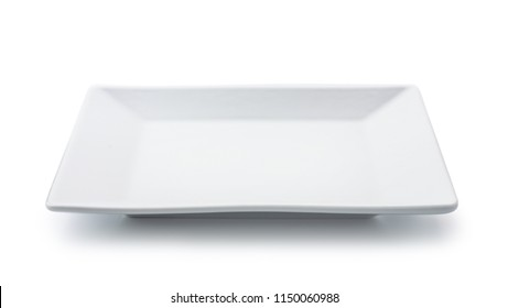 White empty square plate isolated on white