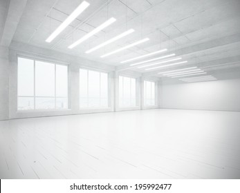White empty sunny interior