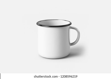White Enamel Mug Mock-Up isolated on soft gray background.Can be used for your design and branding.
