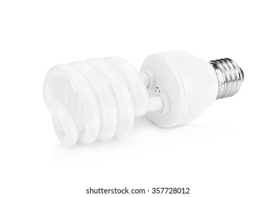 white energy saving bulb on white background.