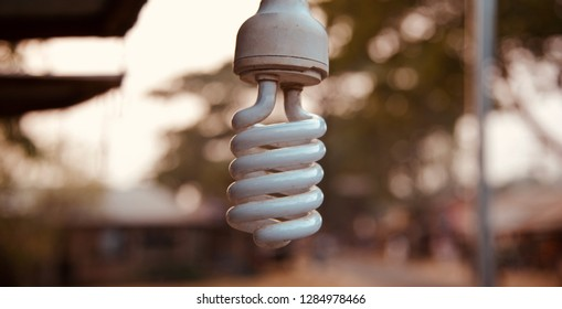 A white energy saving electric lightbulb photograph