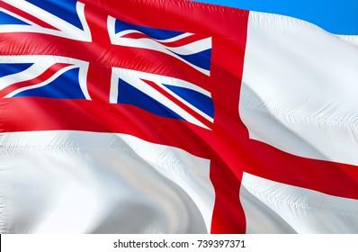 White Ensign flag. United Kingdom Royal Navy flag. Flag of United Kingdom. 3D Waving flag design. Union Jack 3D rendering. Royal Yacht Squadron