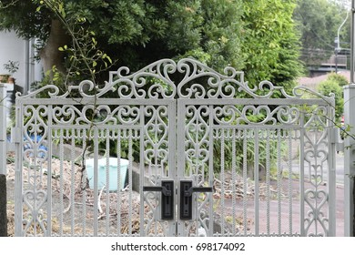 White entrance gate