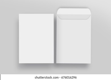 White envelope C4 mock-up, blank template, isolated background