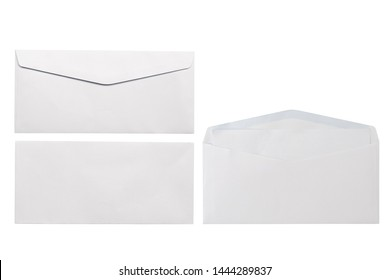 White envelope front and back isolated on white background. Letter top view. Object with clipping path - Shutterstock ID 1444289837