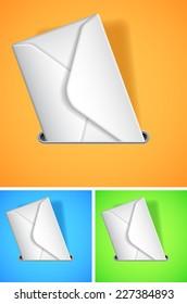 White envelope on color background.