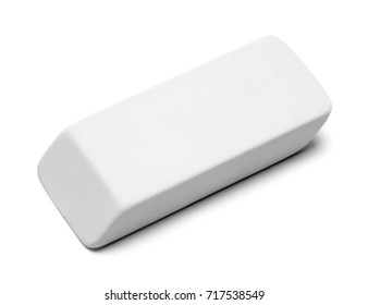 White Eraser with Copy Space Isolated on White Background.
