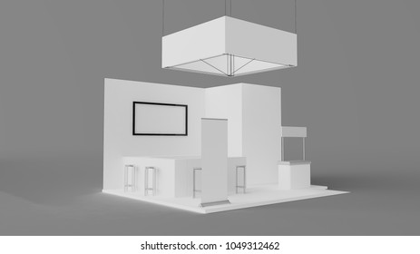 white exhibition booth with bar 3d rendering