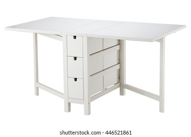 White extension table isolated on white background. Include clipping path