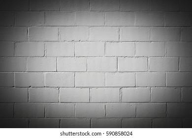 White Exterior Concrete Block Wall with Vignette